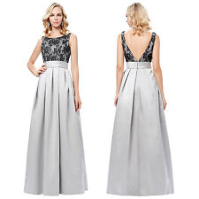 GREY Luxury Prom Dresses Evening Gown Long Bridesmaid Wedding Party Formal Dress
