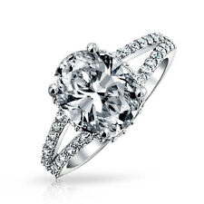 Bling Jewelry 3.5ct Sterling Silver Oval Cubic Zirconia Engagement Ring