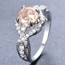 Womens Champagne Topaz  Wedding Ring 10KT White Gold Filled Party Band Size5-9