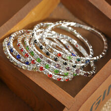 Fashion Tennis Rhinestone Crystal Bangle Stretch Wedding Bridal Bracelet Jewelry
