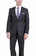 Rivelino Slim Fit Charcoal Flannel Chalk Striped Two Button Wool Suit