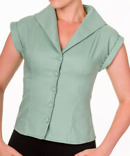 Banned Apparel 50s Rockabilly Vintage Blouse Shirt Button Top Pinup Pastel Green