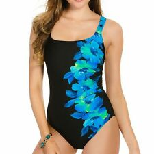 Miraclesuit Sideswipe blue Underwire One-piece Swimsuit 440049 BNWT AU16,18