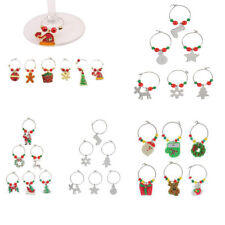 Set of 6 Christmas Wine Glass Charms Drink Markers Charm Rings Table Decorations