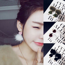 1Pair Women Vogue Peach Hearts Ear Stud Soft Fur Gold Plated Stud Earring Girl