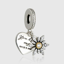 Winter authentic sterling-silver Christmas Snowflake Heart Pendant Charm Beads