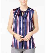 NWT Tommy Hilfiger Women's Striped Sateen Blouse Top Navy/Red size L/XL/2XL