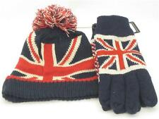 Union Jack Flag Knitted Wooly Winter Bobble Beanie Bobble Pom Pom Hat and Gloves