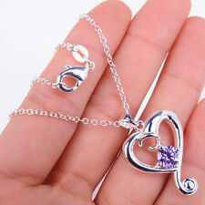 Pretty Crystal Heart Shape 925 Sterling Silver Pendant+ Chain Necklace Jewelry