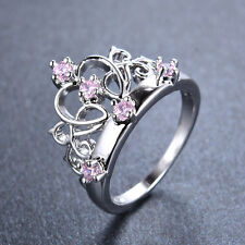 Unique Pricess Crown Pink Sapphire Ring 10KT White Gold Filled Jewelry Size 6-9
