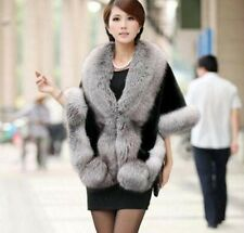 Womens Winter Leather Grass Fur Mink Rabbit Fur Poncho Cape Shawl Vest Fur Coat