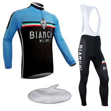 Thermal Fleece Mens Long Sleeve Cycling Jersey Bib Pants Pad Tights Winter Fits