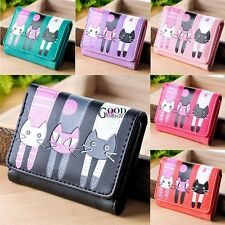 Womens Cat Pattern Coin Purse Clutch Leather Short Wallet Card Holders TXGT