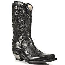 New Rock Men's M.7991-S2  Cowboy Boots with Black Snakeskin-