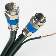 Aerial Dual Solid Bare Copper w/ Copper Ground Messenger RG-6 3Ghz Coaxial Cable