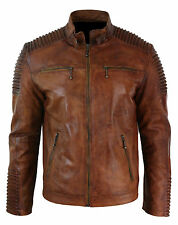 Cafe Racer Mens Biker Vintage Motorcycle Distressed brown Leather Jacket