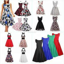 Vintage Women Halter Polka Dot 50's Pinup Rockabilly Swing Cocktail Prom Dress
