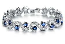 18K WHITE GOLD PLATED SAPPHIRE BLUE CUBIC ZIRCONIA TENNIS BRACELET