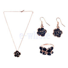 Black rose Pendant Necklace Gold Plated Camellia earrings band ring TW