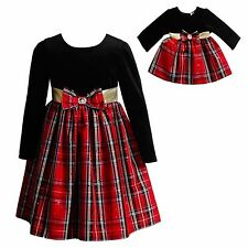 "Matching Girl and Doll Dress Red Plaid 4-14 Dollie & Me fits 18"" American Girl"