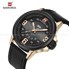 Army Analog Sport Fashion Wrist Watch Gifts Naviforce Men's Quartz Date Leather