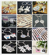 2pcs/Lot Lovers KeyChains Ring Couples Romantic Gifts Metal Key Chain Decor