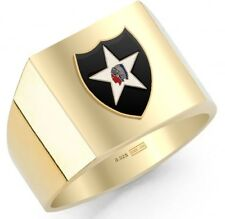 New 15 Customizable US Army Military Emblems Gold Vermeil Solid Back Ring