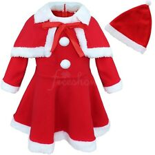US Baby Kids Girls Christmas Santa Claus Fancy Costume Dress Hat Shawl Outfit