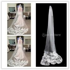 Beautiful Bride Cathedral Length Lace Edge Long Wedding Bridal Veils with Comb