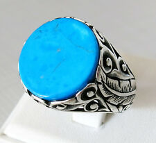 Handmade Turkish 925 Sterling Silver Natural TURQUOISE Stone Men's RING #934