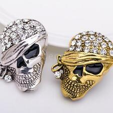 Vintage Rhinestone Collar Tips Fashion Pirate Skull Head Pin Brooch
