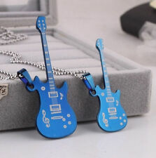 Fashion Mens Women Stainless Steel Guitar Pendant Chain Necklace Jewelrys
