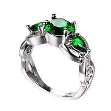 Elegant Green Emerald Wedding Band Ring 10KT White Gold Filled Jewelry Size6-11