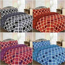 MODERN THEO CROSS CHECKED DUVET COVER BEDDING SET SINGLE DOUBLE KING SUPERKING
