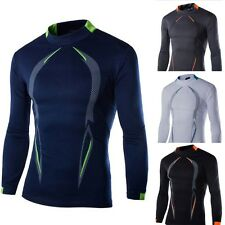 Men's Compression Cotton Tights Long Sleeve Tops Fitness Training Sport T-Shirts