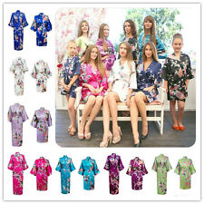 Women's Plain Silk Satin Robes Bridal Wedding Bridesmaid Bride Gown Kimono Robe*