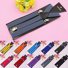 Fashion Women's Unisex Clip-on Suspenders Elastic Y-Shape Braces Mens Adjustable