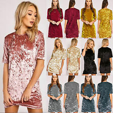 Womens Ladies Crushed Velvet Casual Top T Shirt Loose Long Pullover Blouse Dress