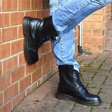 Ladies ankle retro combat boot Women's funky Leather vintage gothic ankle boots