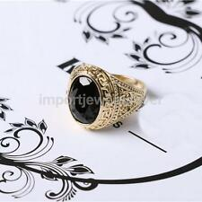 Fashion Punk Rock Mens Rings Black Rhinetones Gold Plated Ring Retro Finger Ring