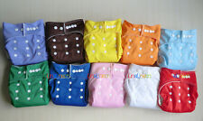 New 10pcs+10 INSERTS Adjustable Reusable Lot Washable Baby Cloth Diapers Nappies