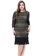 Chicwe Women's Plus Size Lace Dress with Contrast Lining and Pleated Hem