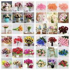DIY Silk Multi-Flowers Artificial Bouquet Home Wedding Party Garden Floral Decor