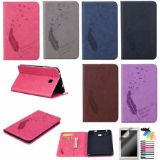 Feather and Pigeon Patterns Case for Samsung iPad Tablets PU Leather Stand Cover