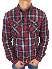 Mens Size XL Superdry Winter Washbasket L/S Shirt in Chilled Red Check