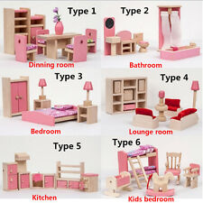 Pink Wooden Furniture Doll House Miniature 6 Room Set Doll 3D Building Model Toy