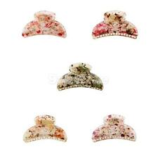 Ladies Girl Cute Flower Print Jaw Gripper Claw Hair Clip Clutcher Hair Accessory