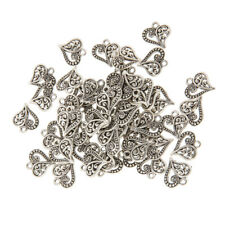 50x Antique Bronze Heart DIY Charms Jewelry Findings Pendant Beads