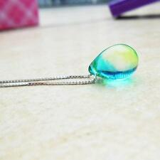 Mermaid Water Droplet Glass Pendant Necklace Silver Chain Girls Fashion Jewelry