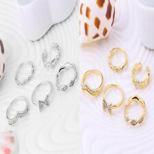 5pcs Set Rhinestone Bow Heart Stack Above Knuckle Band Midi Finger Tip Rings